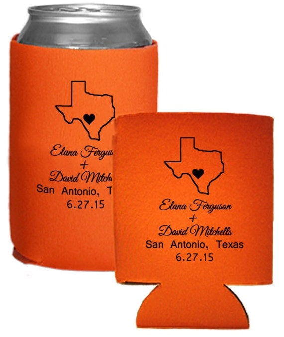 Personalized wedding favors beer koozies coolies custom for Beer koozie wedding favors