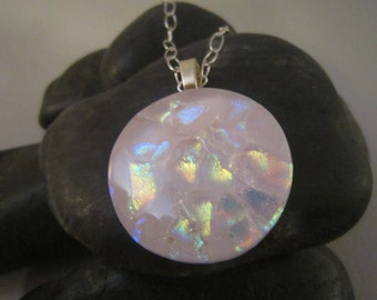Colorful  Pink round Dichroic Pendant