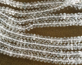 White Topaz Faceted Rondelles-6mm