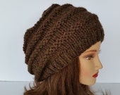 Knit Slouchy Beret-Celebrity Style Slouch-Womens Fashion Beret-Teen Beehive hat-Reversible-Brown