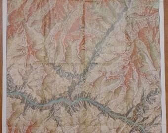 "Map Grand Canyon Arizona Vintage 1978 National Geographic 22""x34"""