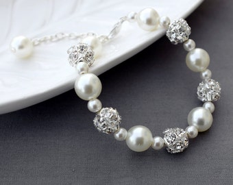 SALE Bridal Pearl Rhinestone Bracelet Crystal Wedding Jewelry White or Ivory BL065LX