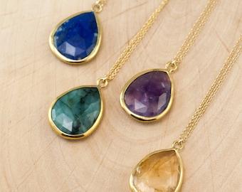 Birthstone Pendant - Layered Necklaces - Tear Drop Gold Framed Stone Pendant - Gold Necklace - Layering Jewelry - Bridesmaid Jewelry