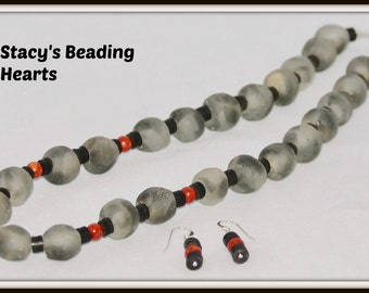 Black recycled glass beads, sponge coral, recycled vinyl record beads, handmade and unique necklace & earring set by STACY'S BEADING HEARTS