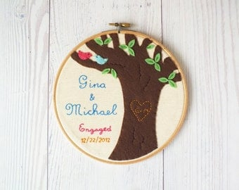 Wedding gift Embroidery hoop art  wedding, engagement, love tree, memento, keepsake,  customized personalized wedding gift made to order