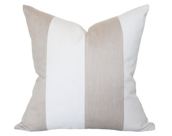 Beige & White Stripes Pillow Cover (Double-Sided) - Made-to-Order