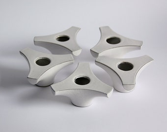 Set of 5 Mid Century White Cor Unum Candle Holders   - Dutch Pottery c.70s 80s