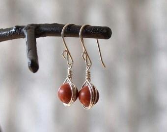 Wire Wrapped Earrings, Red Jasper, Red Stone Earring
