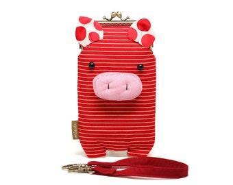 Innocent red piggy smartphone kisslock sleeve