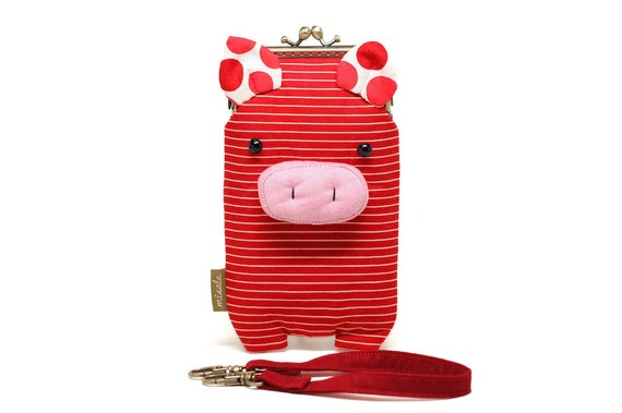 Innocent red piggy smartphone kisslock sleeve