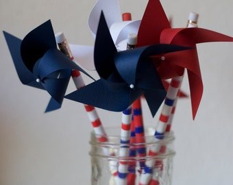 Party Decor 6 pencil favors Spinnable Nautical Pinwheels (custom orders welcomed)