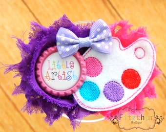 Little artist paint bow - Paint hair bow - Paint hair clip - Paint headband - New baby gift Baby shower gift  - Paint baby