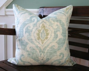 Decorative Pillow Cover- 20x20 - pale blue, green and cream