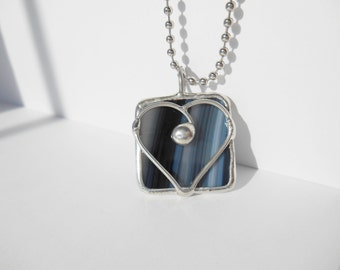 Black and white heart stained glass pendant one of a kind jewelry