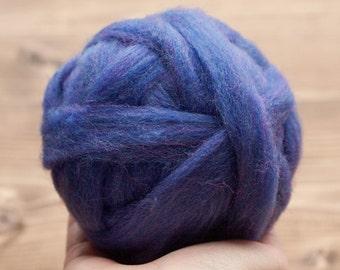 Blue Violet Wool Roving for Needle Felting, Wet Felting, Spinning, Dyed Felting Wool, Fiber Art Supplies