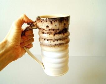 MADE TO ORDER... 24 oz. Handmade Stein, Tall Mug,  Tankard, Handmade Wheel Thrown in Toasted Marshmallow by RiverStone Pottery