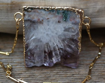 Raw Amethyst Necklace - Electroformed 14kt. Gold