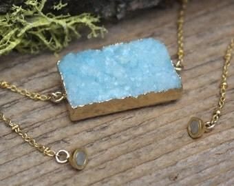 Light Blue Druzy Necklace - Electroformed 14kt. Gold