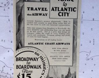 Atlantic Coast Airways Broadway to Boardwalk  15.00.  Fabulous ad Original Ad not a Reproduction.