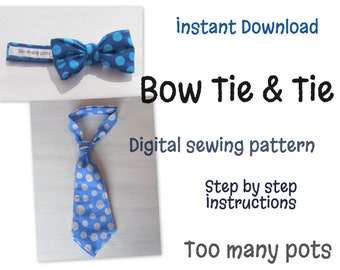Instant Download Baby and Child Bow Tie & Tie Sewing Pattern adjustable neck strap