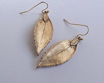 Antiqued Gold Leaf Earrings Gold Leaf Earrings Autumn Leaf Branch Earrings Fall Earrings Rustic Leaf Pendant Nature Leaf Bridesmaids Gift