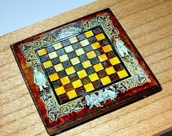 Medieval Chess Board, Dollhouse Miniature 1/12 Scale, Hand Made