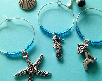 Beach Themed Wine Charms: Beach vacation perfect gift for wine lovers. Perfect for Summers at the Shore. Set of 4 to Set of 12.