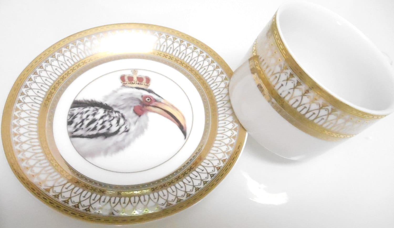 beautiful gold or silver african hornbilltoko bird payment -  tea set skull tea skull porcelain unusual dinnerware unusualporcelain unusual dishes funky dishes custom plates custom dinnerware