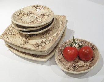 Sushi Set, Ceramic Sandwich Plates and Small Bowls Set, Sushi Plates and Dipping Bowls, Handmade Pottery for Your Table, Rustic Sepia Floral