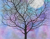 Original Acrylic Painting on Stretched Canvas. 11 x 14 inches. Tree & Moon - Michael Francis Brown
