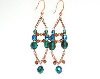 Boho Copper Chandelier Earrings, Bohemian Jewelry, Beaded Chain Earrings, Copper Chain Earrings, Chandelier Earrings, Long Dangle Earrings