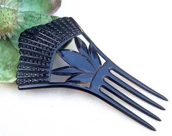 Antique Hair Comb Victorian Mourning French Jet Hair Accessory Hair Slide Hair Pin Headdress Hair Jewelry Hair Ornament