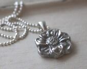 Fine Silver Flower Pendant Necklace