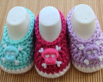 Baby Shoes  Robins Egg Blue Raspberry Lilac Crochet Baby Booties Baby Girl Booties Ballet Slippers Skull and Crossbones Photo Prop
