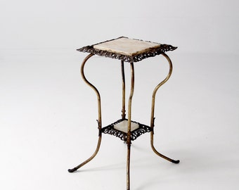 antique brass and marble end table, Victorian stand