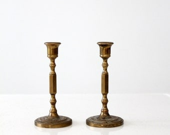 brass candlesticks, antique brass candles holders, turned stem candlestick
