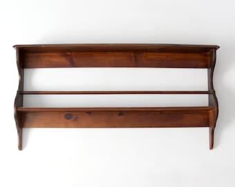 vintage wood shelf, wall rack, plate display