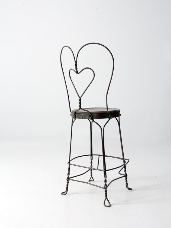 Vintage Ice Cream Parlor Chair Heart Back Tall Stool By 86home