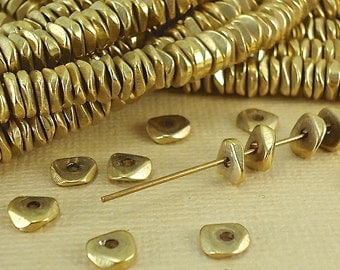 40 Brass Faceted Spacer Beads 6mm Heishi Chip Nugget Disc Solid Brass Beads from India Flat Metal Beads Natural Heishi US Seller