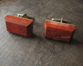 Vintage Big Red Brick Jasper Rectangular Stone Stylish Steampunk Cufflinks Midcentury