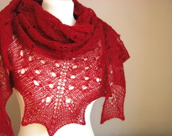Cute Cherries- hand knitted shawl cashmere