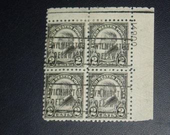 USA Stamps, Plate Block, 612, 2c Harding, Black, c. 1923
