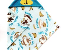 Baby Blanket Sewing Pattern, Monkey Hoodie Blanket, Personalized Blanket