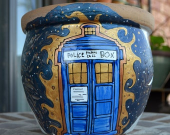 "Doctor Who Garden Planter - Heavy, stone - Hand painted with TARDIS, stars, and banner ""All of time and space"""