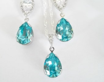 Turquoise Blue Necklace and Earrings,Bridesmaid Jewelry Set,Something Blue,Swarovski Crystal Earrings,Swarovski Crystal Necklace,Pool Blue
