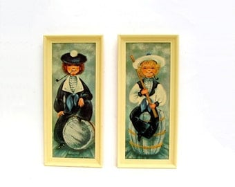 Mid century Big Eye Art Prints Pair Vintage Nautical Sailor Boys Nursery Beach Sailing Decor