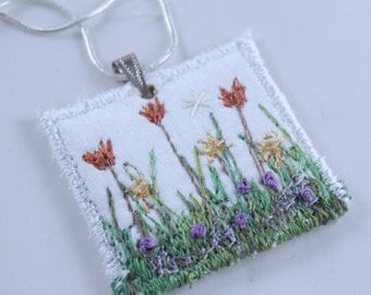 Square White Embroidered pendant fiber embroidered spring garden necklace garden lover silk embroidered coral tulips grass garden red