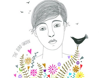 Original drawing woman with flowers, Original art bird drawing, Graphic art, Original illustration flower garden, Multicolored ink art
