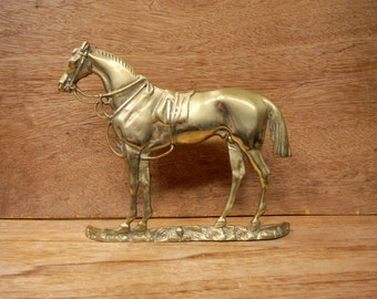 Victorian Large Cast Brass Mantle Horse