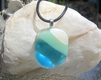 Fused Glass Necklace, Ocean Beach Glass Pendant, Turquoise Blue Sea Glass Necklace, Ocean Waves, Glass Beach Necklace, Mother's Day Necklace